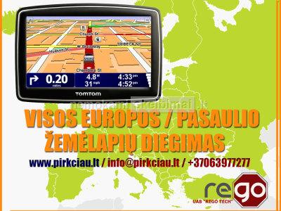 GPS navigacijos atminties praplėtimas, kortelės įlitavimas, žemėlapių naujinimas