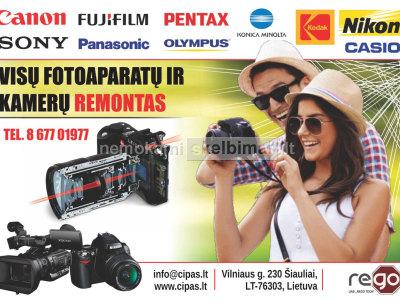 Įvairių gamintojų FOTO ir VIDEO technikos ir jų priedų REMONTAS