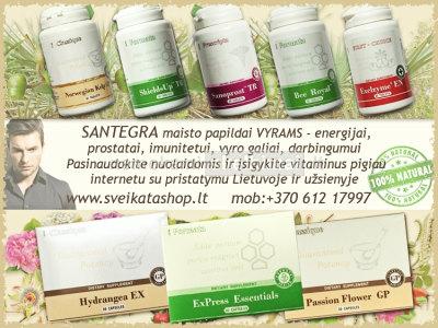 SANTEGRA maisto papildai, vitaminai VYRAMS www. sveikatashop. lt