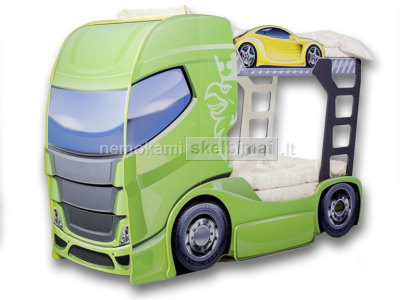 Dviaukštė vaikiška lova su spintelėmis Truck 2