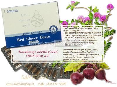 Red Clover Forte 60 kaps, raudonasis dobilas - SANTEGRA